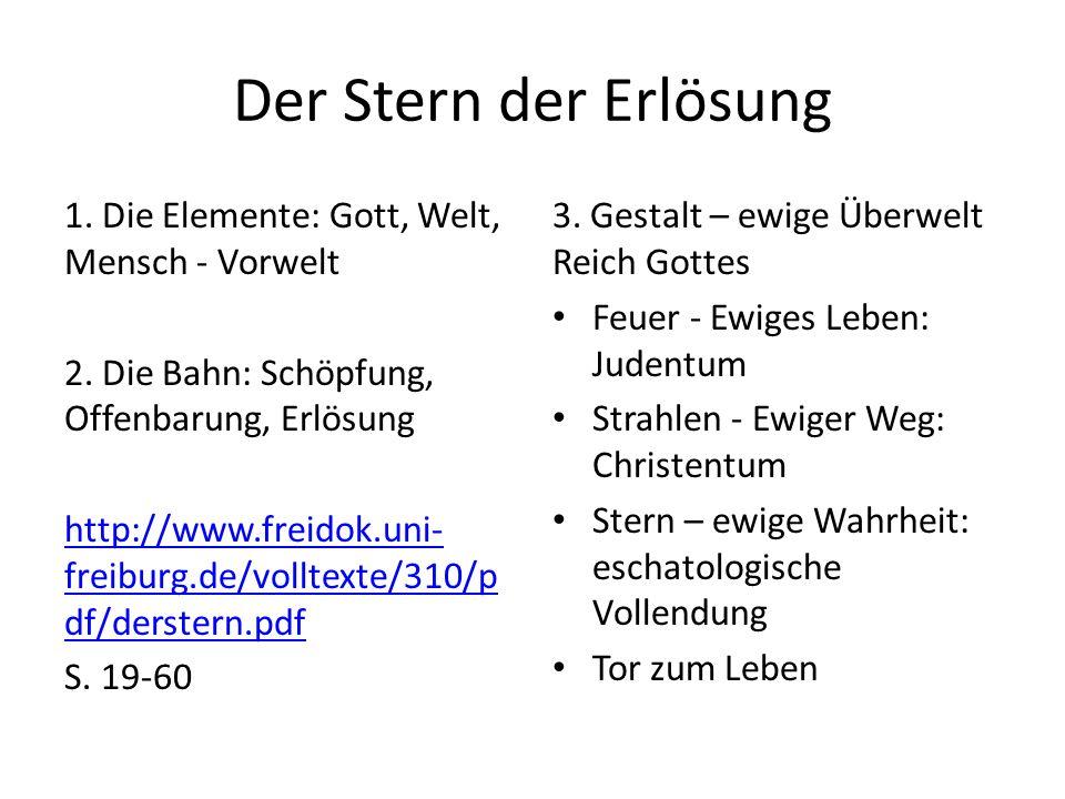 Der Stern der Erlösung 1. Die Elemente: Gott, Welt, Mensch - Vorwelt 2.