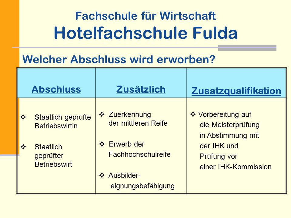 Fachschule für Wirtschaft Hotelfachschule Fulda PflichtbereichWahlbereichBesonderheiten  Lernbereich I z.B.