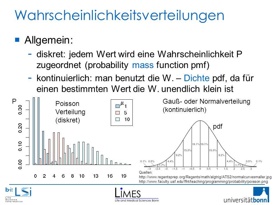 Wahrscheinlichkeitsverteilungen  Allgemein: - diskret:jedem Wert wird eine Wahrscheinlichkeit P zugeordnet (probability mass function pmf) - kontinuierlich: man benutzt die W.