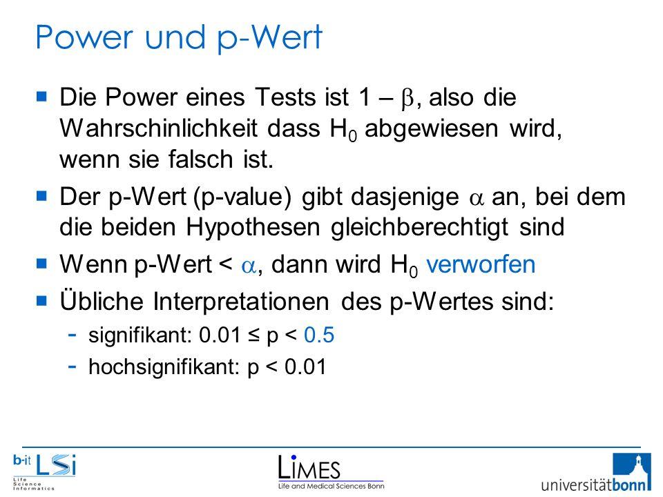 Power und p-Wert  Die Power eines Tests ist 1 – , also die Wahrschinlichkeit dass H 0 abgewiesen wird, wenn sie falsch ist.  Der p-Wert (p-value) g