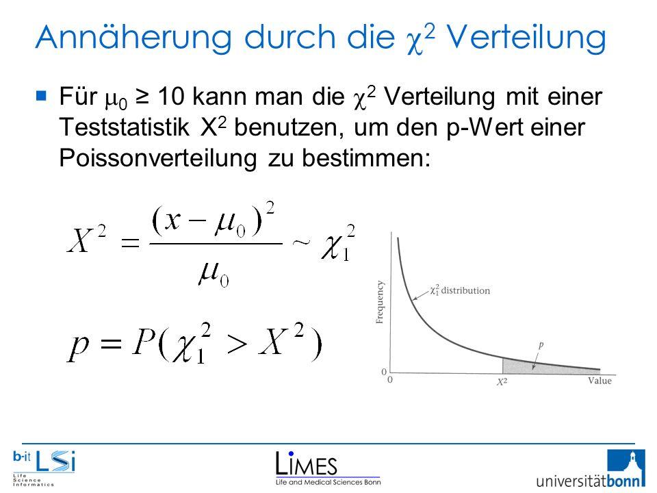 Annäherung durch die  2 Verteilung  Für  0 ≥ 10 kann man die  2 Verteilung mit einer Teststatistik X 2 benutzen, um den p-Wert einer Poissonverteilung zu bestimmen:
