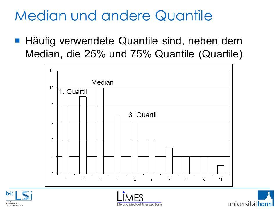 Median und andere Quantile  Häufig verwendete Quantile sind, neben dem Median, die 25% und 75% Quantile (Quartile) Median 3. Quartil 1. Quartil