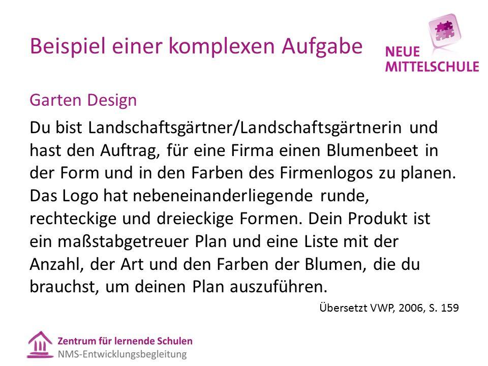 Beispiel einer komplexen Aufgabe Garten Design Du bist Landschaftsgärtner/Landschaftsgärtnerin und hast den Auftrag, für eine Firma einen Blumenbeet in der Form und in den Farben des Firmenlogos zu planen.
