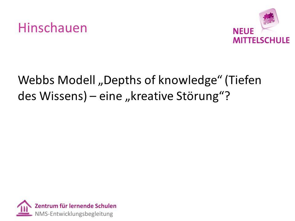 """Hinschauen Webbs Modell """"Depths of knowledge (Tiefen des Wissens) – eine """"kreative Störung"""