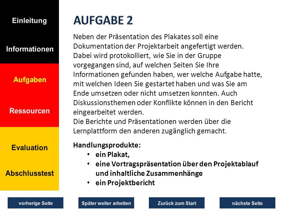 Neben der Präsentation des Plakates soll eine Dokumentation der Projektarbeit angefertigt werden.