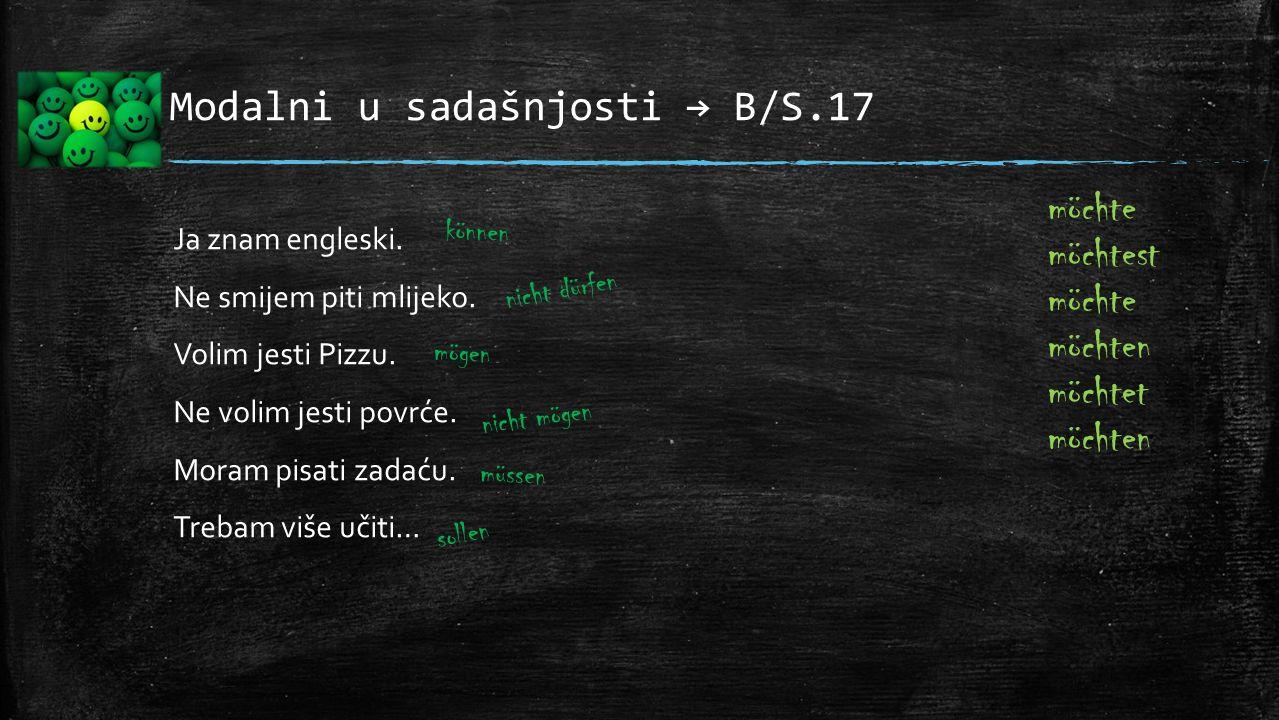 Modalni u sadašnjosti → B/S.17 Ja znam engleski. Ne smijem piti mlijeko. Volim jesti Pizzu. Ne volim jesti povrće. Moram pisati zadaću. Trebam više uč