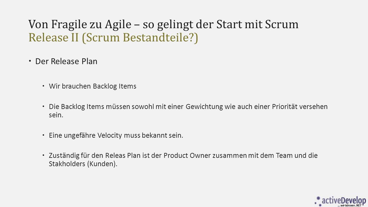 Von Fragile zu Agile – so gelingt der Start mit Scrum Release II (Scrum Bestandteile?)  Der Release Plan  Wir brauchen Backlog Items  Die Backlog I