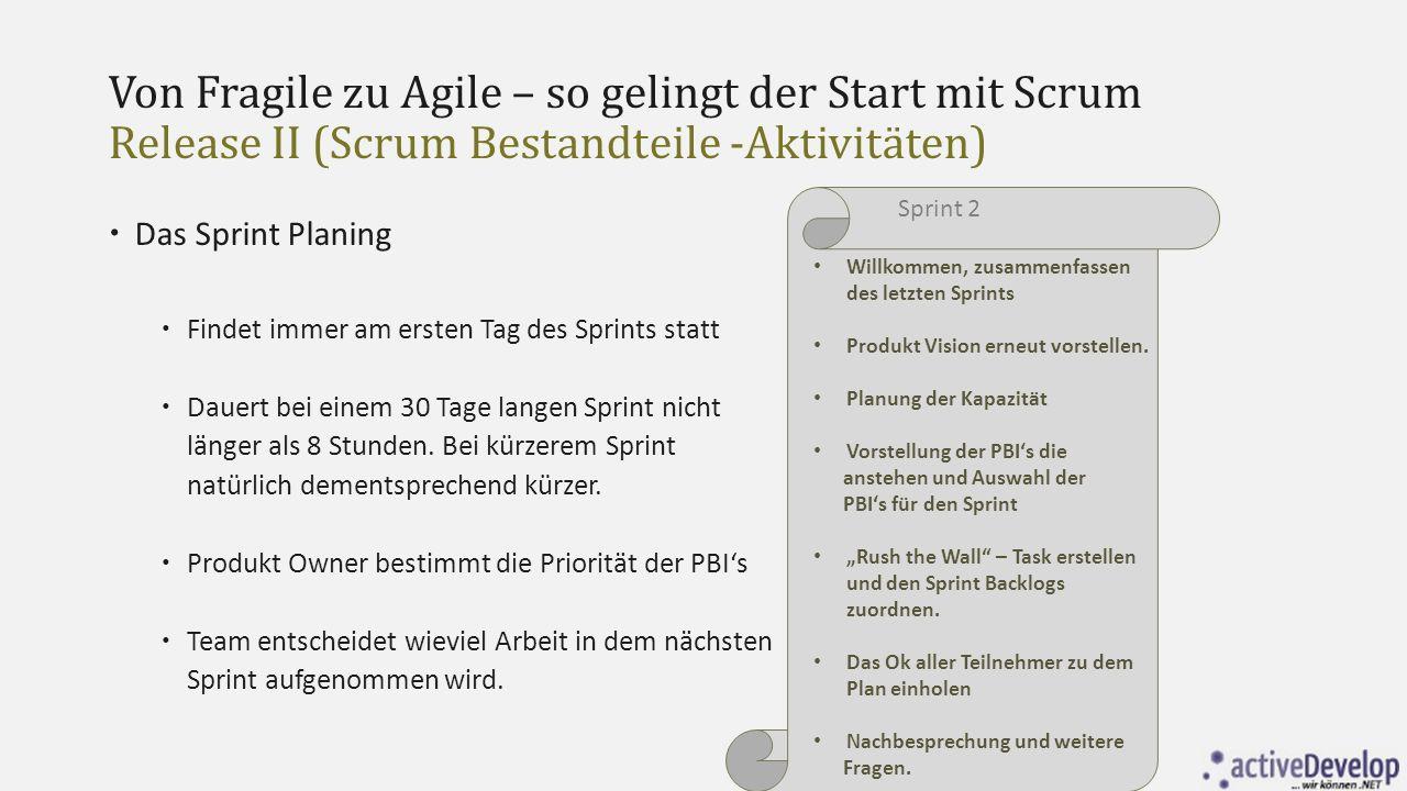 Von Fragile zu Agile – so gelingt der Start mit Scrum Release II (Scrum Bestandteile -Aktivitäten)  Das Sprint Planing  Findet immer am ersten Tag d