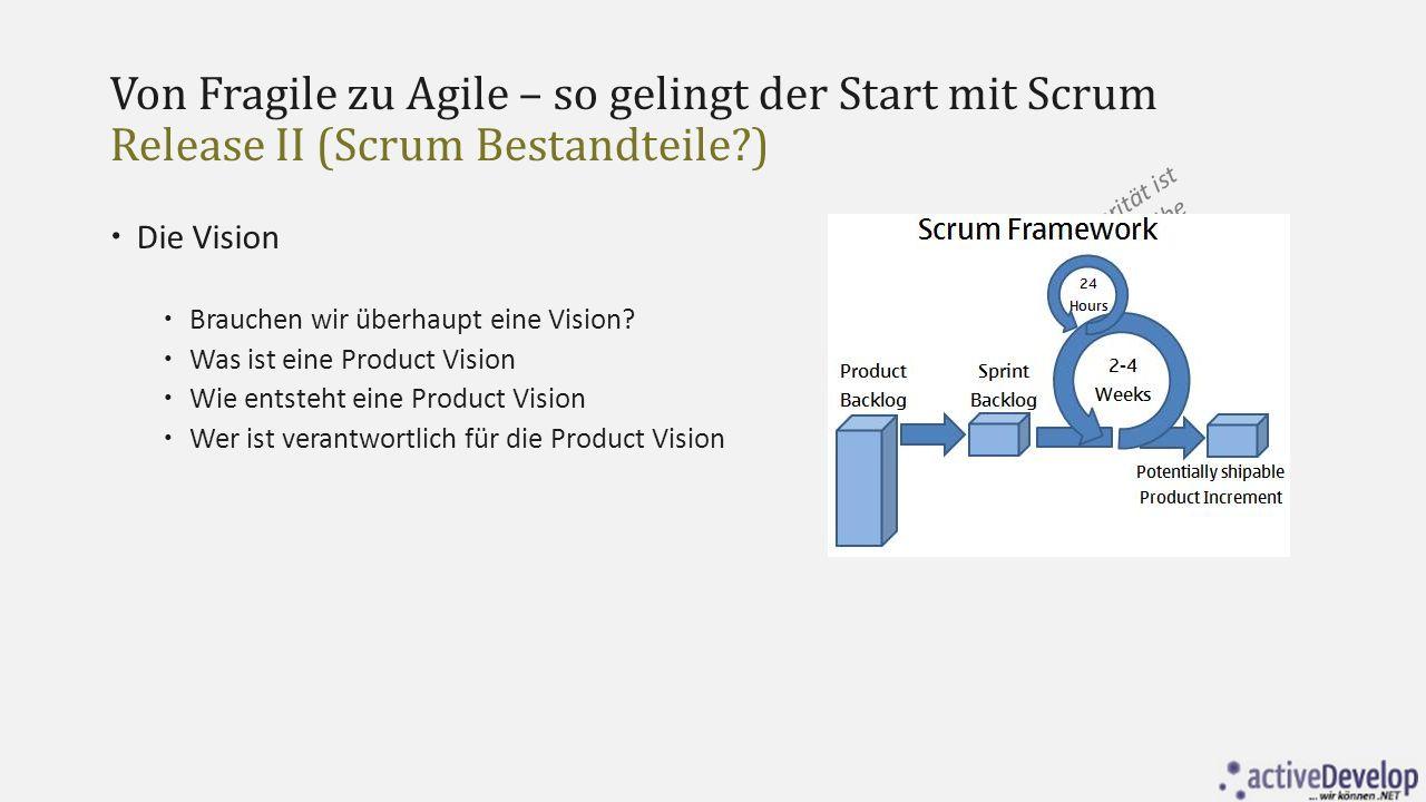 Von Fragile zu Agile – so gelingt der Start mit Scrum Release II (Scrum Bestandteile?)  Die Roadmap  Datum  Name Release  Ziel  Schlüssel Features