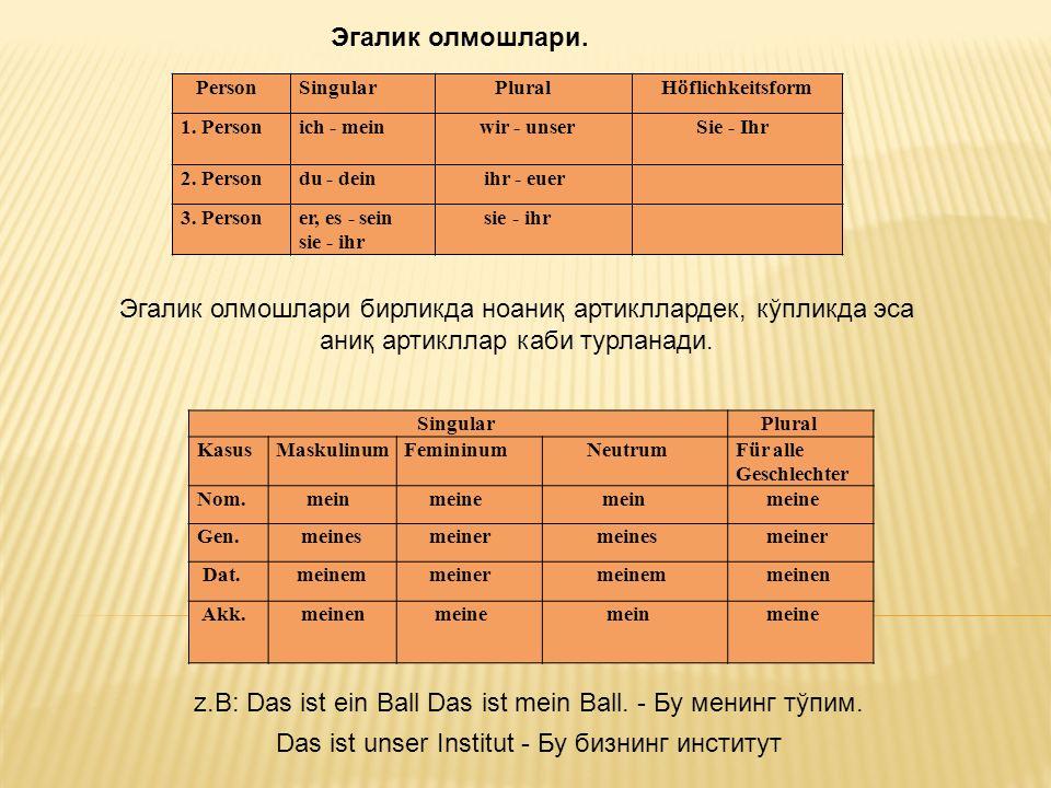 PersonSingular Plural Höflichkeitsform 1. Personich - mein wir - unser Sie - Ihr 2.