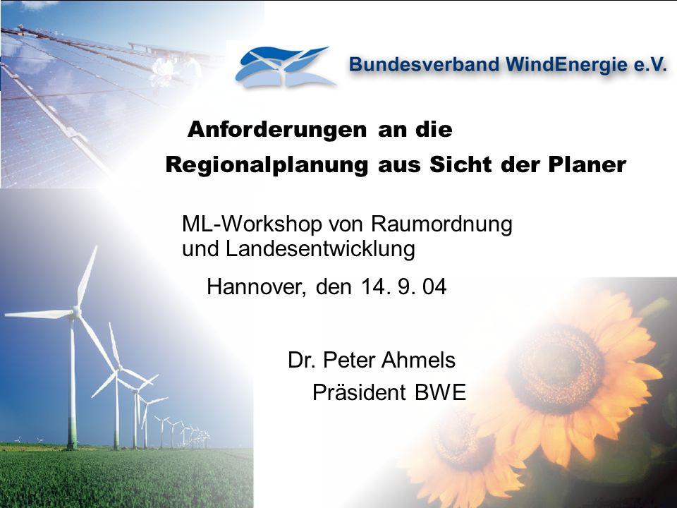 Anforderungen an die Regionalplanung aus Sicht der Planer ML-Workshop von Raumordnung und Landesentwicklung Hannover, den 14.