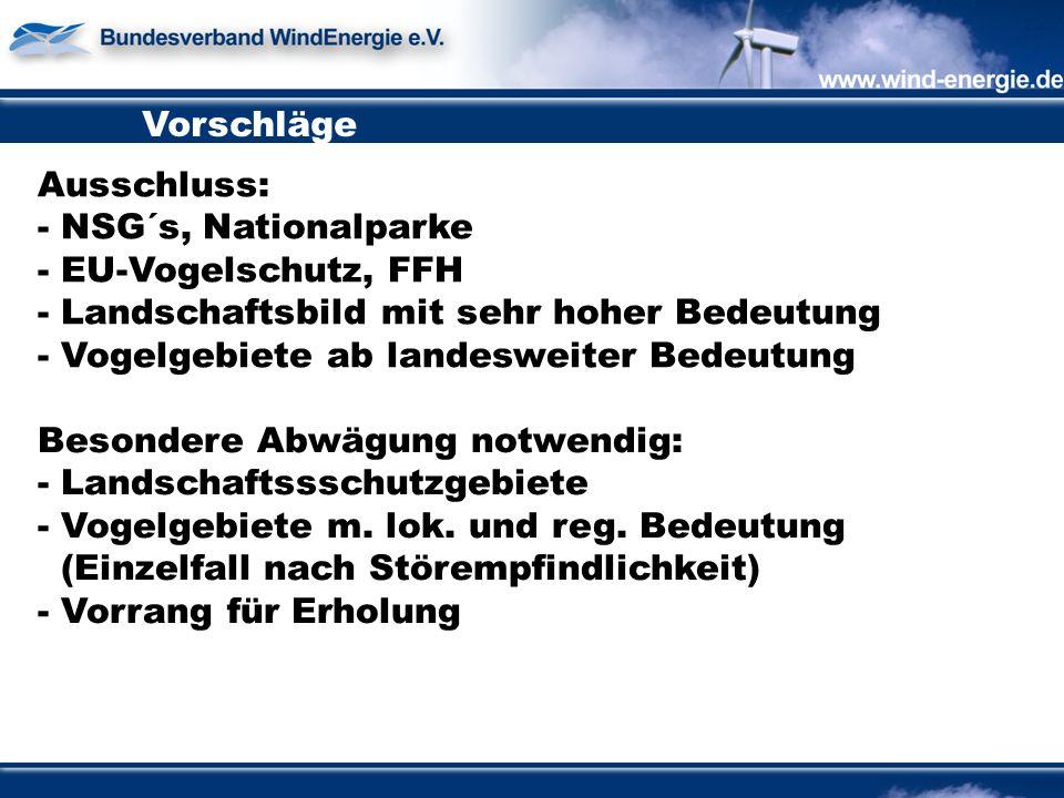 Vorschläge Ausschluss: - NSG´s, Nationalparke - EU-Vogelschutz, FFH - Landschaftsbild mit sehr hoher Bedeutung - Vogelgebiete ab landesweiter Bedeutung Besondere Abwägung notwendig: - Landschaftssschutzgebiete - Vogelgebiete m.