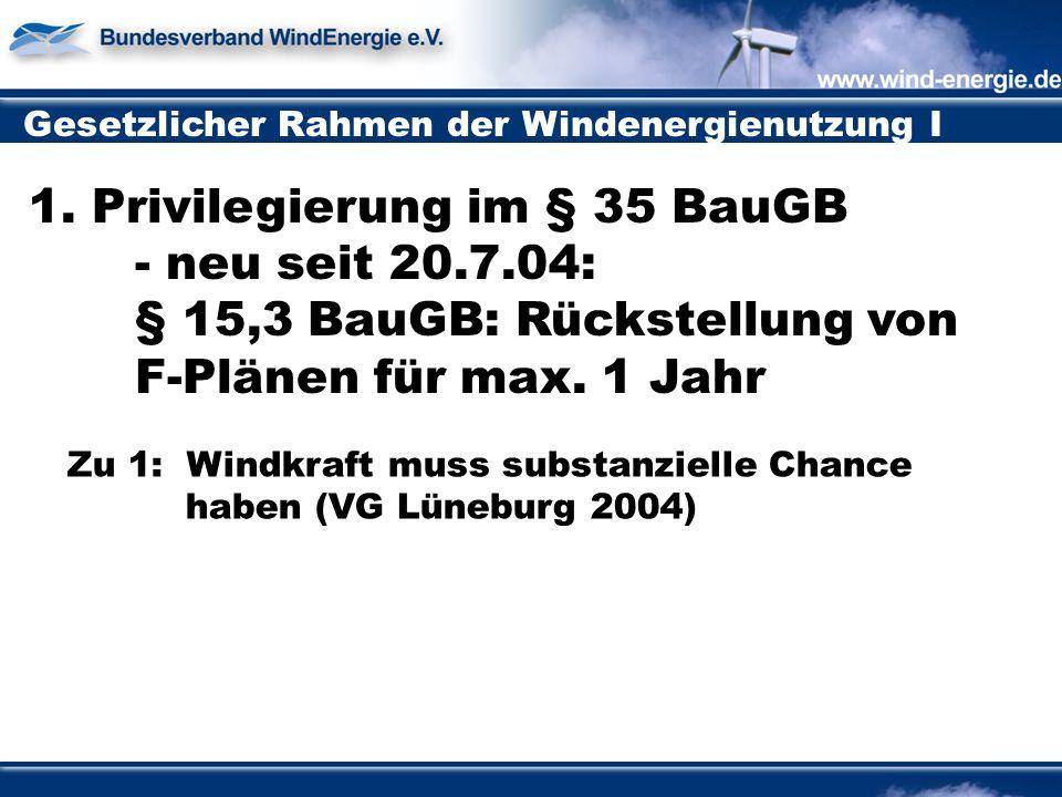 Gesetzlicher Rahmen der Windenergienutzung I 1.