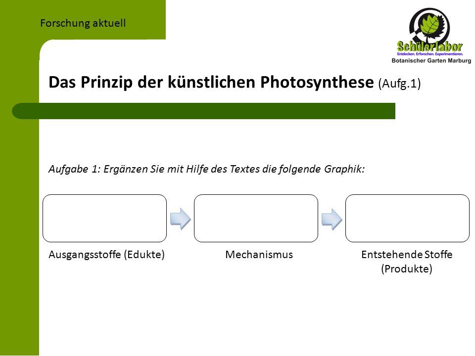 Das Prinzip der künstlichen Photosynthese (Aufg.1) Forschung aktuell Aufgabe 1: Ergänzen Sie mit Hilfe des Textes die folgende Graphik: Ausgangsstoffe (Edukte) Mechanismus Entstehende Stoffe (Produkte)