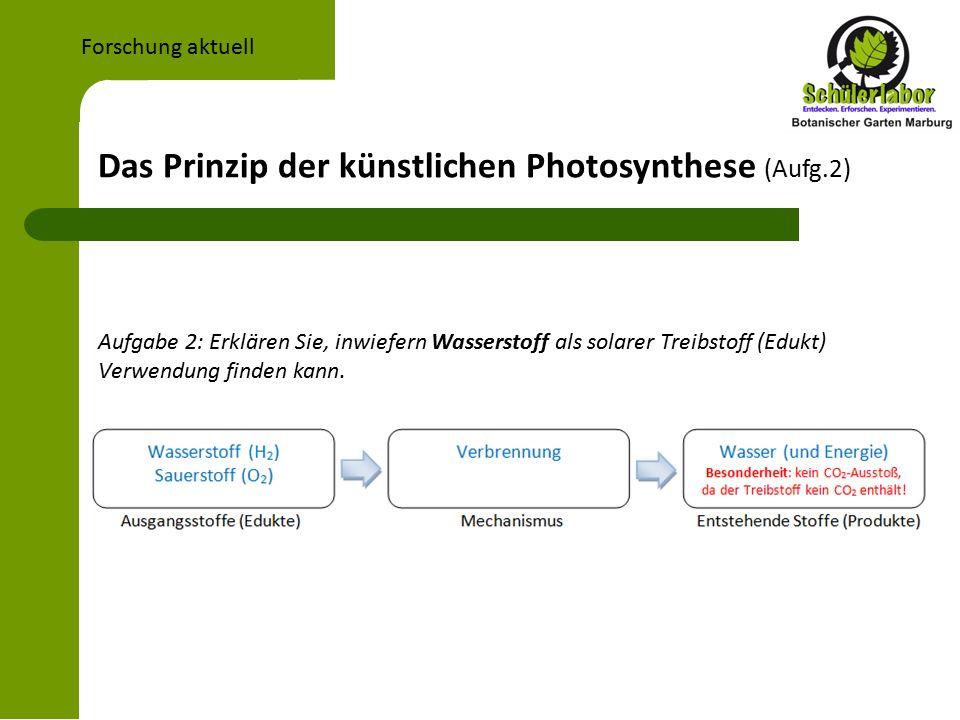 Das Prinzip der künstlichen Photosynthese (Aufg.2) Forschung aktuell Aufgabe 2: Erklären Sie, inwiefern Wasserstoff als solarer Treibstoff (Edukt) Verwendung finden kann.