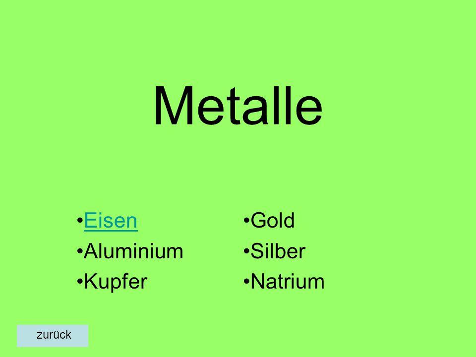 Metalle Eisen Aluminium Kupfer Gold Silber Natrium zurück
