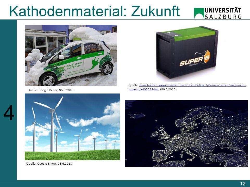 12 Kathodenmaterial: Zukunft 123456123456 Quelle: Google Bilder, 06.6.2013 Quelle: www.boote-magazin.de/test_technik/zubehoer/preiswerte-profi-akkus-von- super-b/a40553.html, (06.6.2013)www.boote-magazin.de/test_technik/zubehoer/preiswerte-profi-akkus-von- super-b/a40553.html Quelle: Google Bilder, 06.6.2013