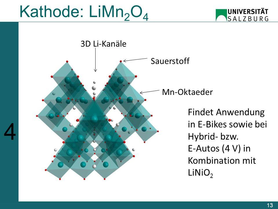 13 Kathode: LiMn 2 O 4 Sauerstoff 3D Li-Kanäle Mn-Oktaeder Findet Anwendung in E-Bikes sowie bei Hybrid- bzw.
