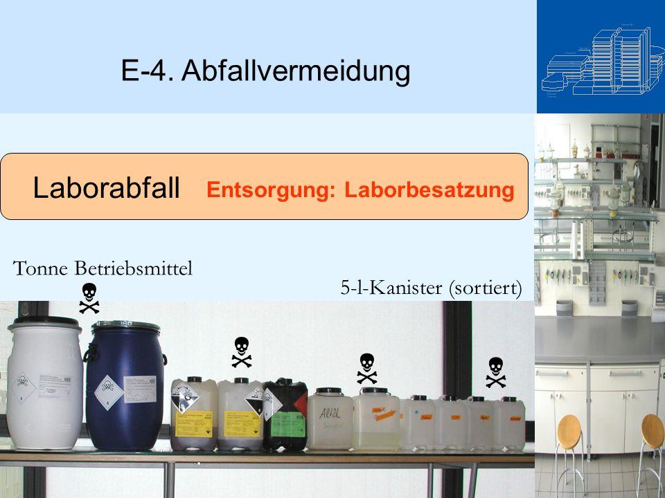 Laborabfall     5-l-Kanister (sortiert) Tonne Betriebsmittel Entsorgung: Laborbesatzung E-4. Abfallvermeidung