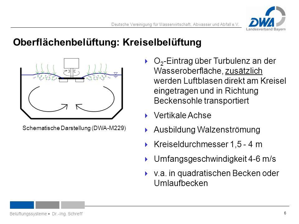 Deutsche Vereinigung für Wasserwirtschaft, Abwasser und Abfall e.V. 6 Oberflächenbelüftung: Kreiselbelüftung  O 2 -Eintrag über Turbulenz an der Wass