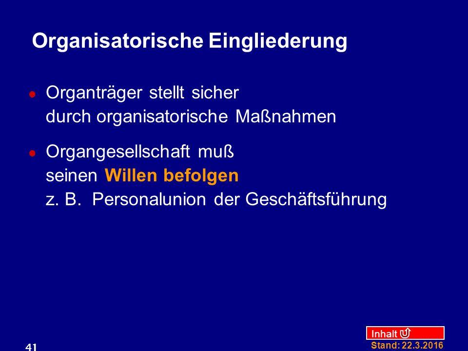 Inhalt Stand: 22.3.2016 41 Organisatorische Eingliederung Organträger stellt sicher durch organisatorische Maßnahmen Organgesellschaft muß seinen Willen befolgen z.