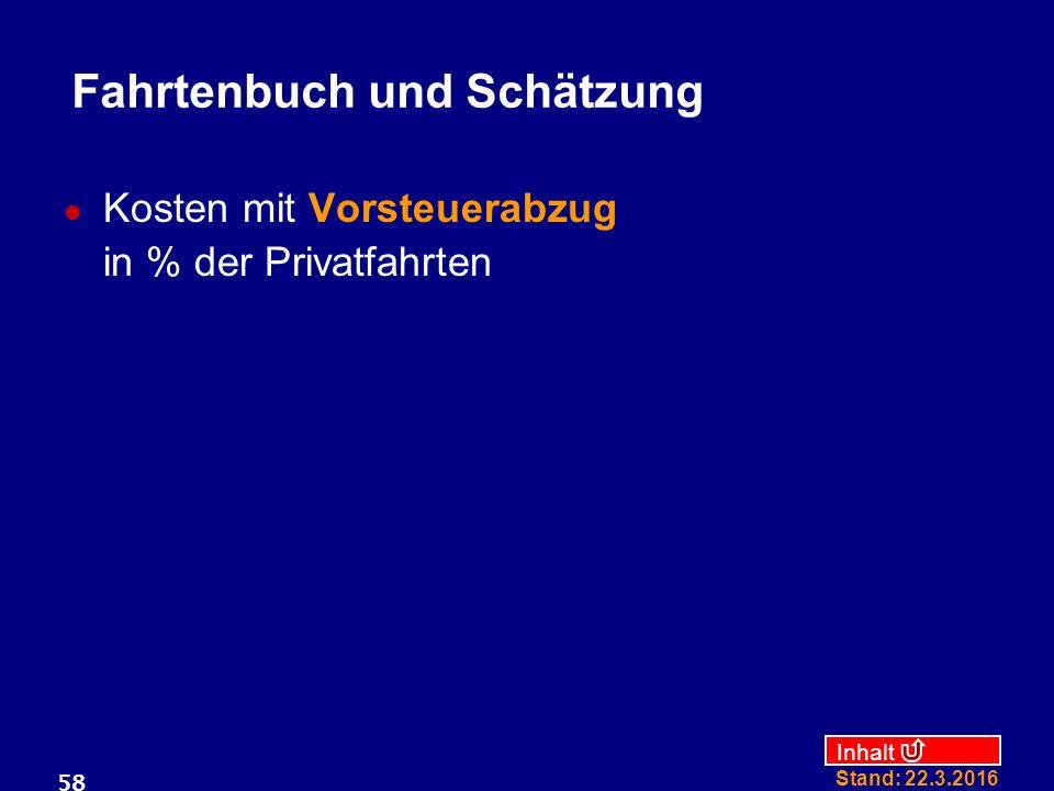 Inhalt Stand: 22.3.2016 58 Fahrtenbuch und Schätzung Kosten mit Vorsteuerabzug in % der Privatfahrten