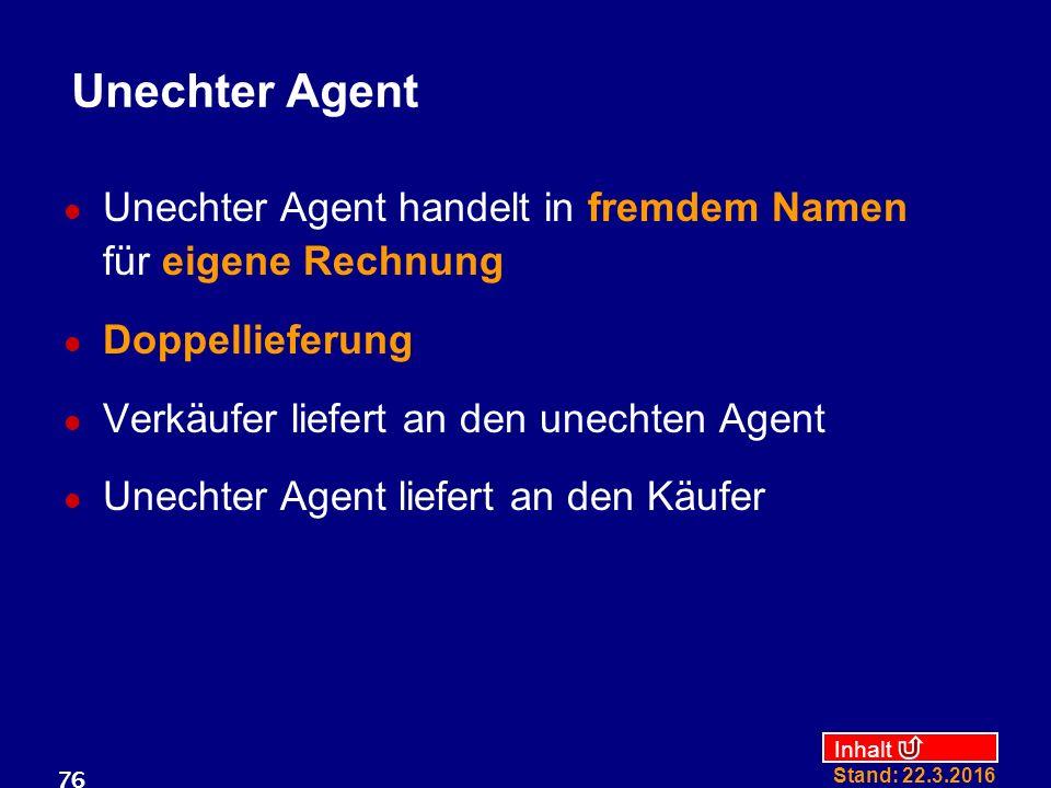 Inhalt Stand: 22.3.2016 76 Unechter Agent Unechter Agent handelt in fremdem Namen für eigene Rechnung Doppellieferung Verkäufer liefert an den unechten Agent Unechter Agent liefert an den Käufer