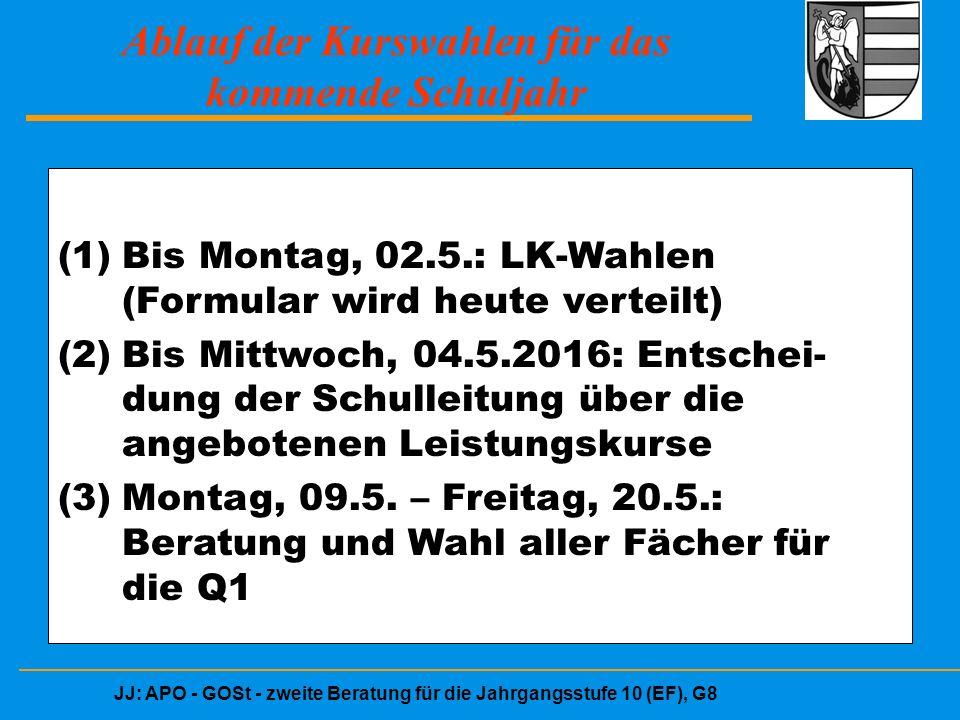 JJ: APO - GOSt - zweite Beratung für die Jahrgangsstufe 10 (EF), G8 Ablauf der Kurswahlen für das kommende Schuljahr (1)Bis Montag, 02.5.: LK-Wahlen (Formular wird heute verteilt) (2)Bis Mittwoch, 04.5.2016: Entschei- dung der Schulleitung über die angebotenen Leistungskurse (3)Montag, 09.5.