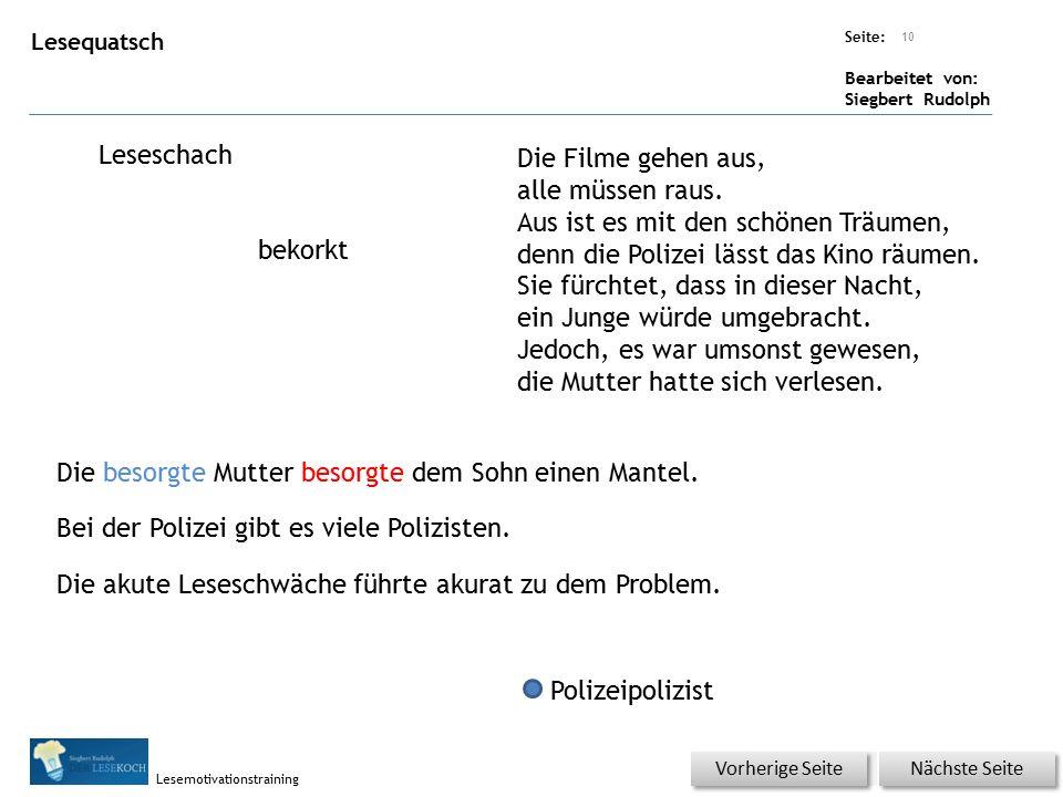 Übungsart: Seite: Bearbeitet von: Siegbert Rudolph Lesemotivationstraining Lesequatsch Leseschach bekorkt Die Filme gehen aus, alle müssen raus. Aus i