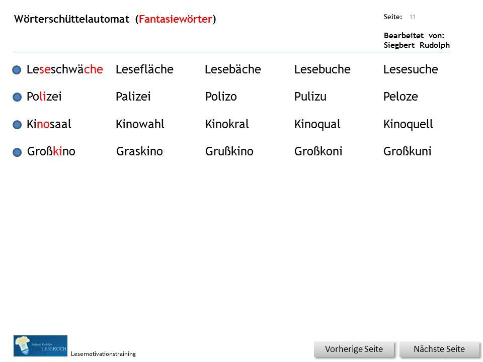 Übungsart: Seite: Bearbeitet von: Siegbert Rudolph Lesemotivationstraining Wörterschüttelautomat (Fantasiewörter) 11 LeseschwächeLeseflächeLesebächeLe