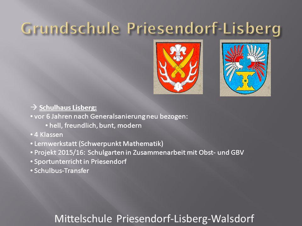  Schulhaus Lisberg: vor 6 Jahren nach Generalsanierung neu bezogen: hell, freundlich, bunt, modern 4 Klassen Lernwerkstatt (Schwerpunkt Mathematik) P