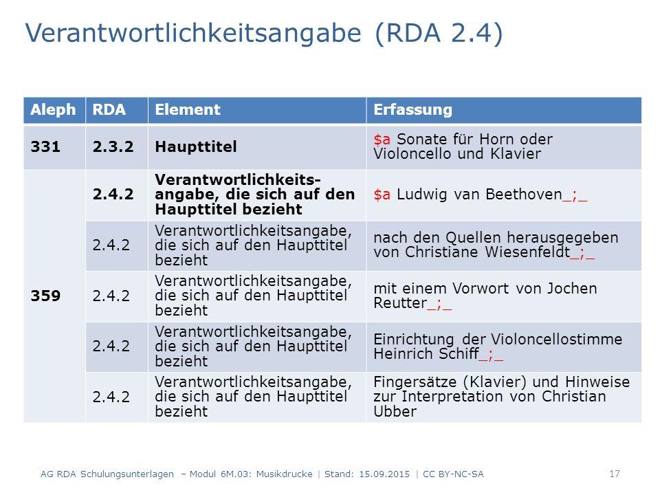 Verantwortlichkeitsangabe (RDA 2.4) AG RDA Schulungsunterlagen – Modul 6M.03: Musikdrucke | Stand: 15.09.2015 | CC BY-NC-SA 17 AlephRDAElementErfassung 3312.3.2Haupttitel $a Sonate für Horn oder Violoncello und Klavier 359 2.4.2 Verantwortlichkeits- angabe, die sich auf den Haupttitel bezieht $a Ludwig van Beethoven_;_ 2.4.2 Verantwortlichkeitsangabe, die sich auf den Haupttitel bezieht nach den Quellen herausgegeben von Christiane Wiesenfeldt_;_ 2.4.2 Verantwortlichkeitsangabe, die sich auf den Haupttitel bezieht mit einem Vorwort von Jochen Reutter_;_ 2.4.2 Verantwortlichkeitsangabe, die sich auf den Haupttitel bezieht Einrichtung der Violoncellostimme Heinrich Schiff_;_ 2.4.2 Verantwortlichkeitsangabe, die sich auf den Haupttitel bezieht Fingersätze (Klavier) und Hinweise zur Interpretation von Christian Ubber