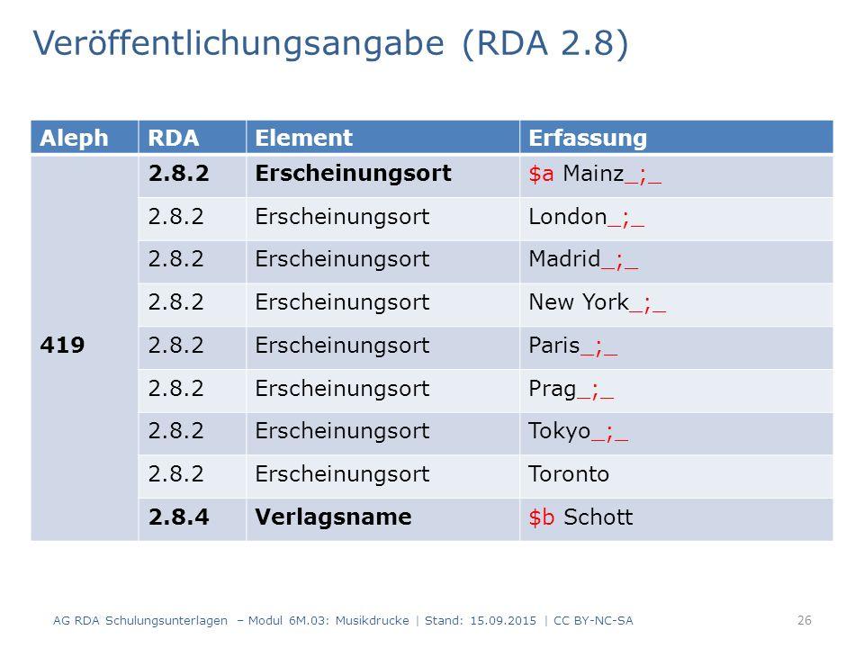 Veröffentlichungsangabe (RDA 2.8) AG RDA Schulungsunterlagen – Modul 6M.03: Musikdrucke | Stand: 15.09.2015 | CC BY-NC-SA 26 AlephRDAElementErfassung 419 2.8.2Erscheinungsort$a Mainz_;_ 2.8.2ErscheinungsortLondon_;_ 2.8.2ErscheinungsortMadrid_;_ 2.8.2ErscheinungsortNew York_;_ 2.8.2ErscheinungsortParis_;_ 2.8.2ErscheinungsortPrag_;_ 2.8.2ErscheinungsortTokyo_;_ 2.8.2ErscheinungsortToronto 2.8.4Verlagsname$b Schott