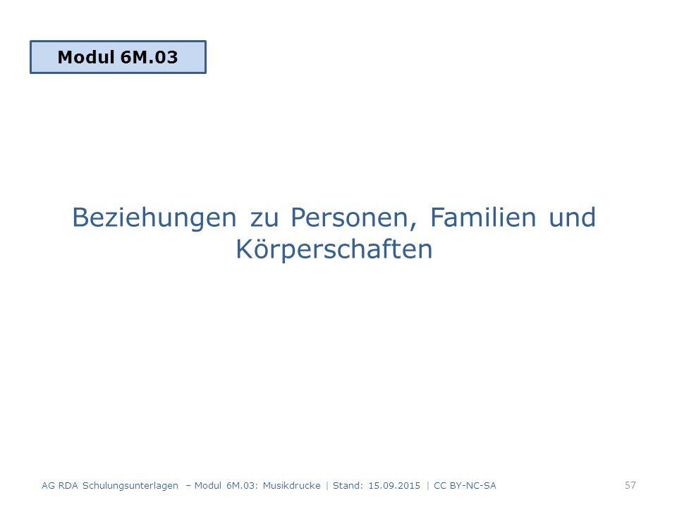 Beziehungen zu Personen, Familien und Körperschaften Modul 6M.03 57 AG RDA Schulungsunterlagen – Modul 6M.03: Musikdrucke | Stand: 15.09.2015 | CC BY-NC-SA