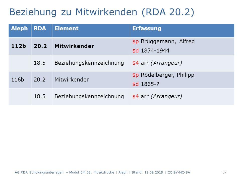 Beziehung zu Mitwirkenden (RDA 20.2) AG RDA Schulungsunterlagen – Modul 6M.03: Musikdrucke | Aleph | Stand: 15.09.2015 | CC BY-NC-SA 67 AlephRDAElementErfassung 112b20.2Mitwirkender $p Brüggemann, Alfred $d 1874-1944 18.5Beziehungskennzeichnung$4 arr (Arrangeur) 116b20.2Mitwirkender $p Rödelberger, Philipp $d 1865-.