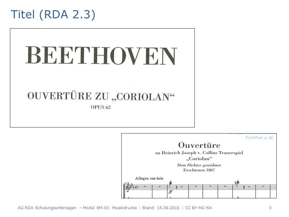 """Umfang von Noten (RDA 3.4.3) Standardelement Der Umfang von gedruckten Noten setzt sich zusammen aus: – der Anzahl der vorliegenden Einheiten – einem passenden Terminus aus der """"Vokabularliste musikalische Ausgabeform, RDA 7.20.1.3 (AH-009) – der Anzahl der Bände und/oder Seiten, Blätter oder Spalten nach RDA 3.4.5.2 + RDA 3.4.5.2 D-A-CH in runden Klammern AG RDA Schulungsunterlagen – Modul 6M.03: Musikdrucke   Stand: 15.09.2015   CC BY-NC-SA 39 AlephRDAElementErfassung 4333.4.3Umfang von Noten$a 1 Partitur (43 Seiten)"""