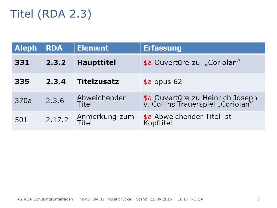 Ausgabevermerk (RDA 2.5) AG RDA Schulungsunterlagen – Modul 6M.03: Musikdrucke   Stand: 15.09.2015   CC BY-NC-SA 20 AlephRDAElementErfassung 4032.5.2 Ausgabe- bezeichnung $a Studienpartitur 064c7.20 Musikalische Ausgabeform $a Studienpartitur $9 GND-ID AlephRDAElementErfassung 4032.5.2 Ausgabe- bezeichnung $a Chorus score 064c7.20 Musikalische Ausgabeform $a Klavierauszug $9 GND-ID Der Eintrag in RDA 7.20 kann aber auch von der Ausgabezeichnung inhaltlich abweichen.