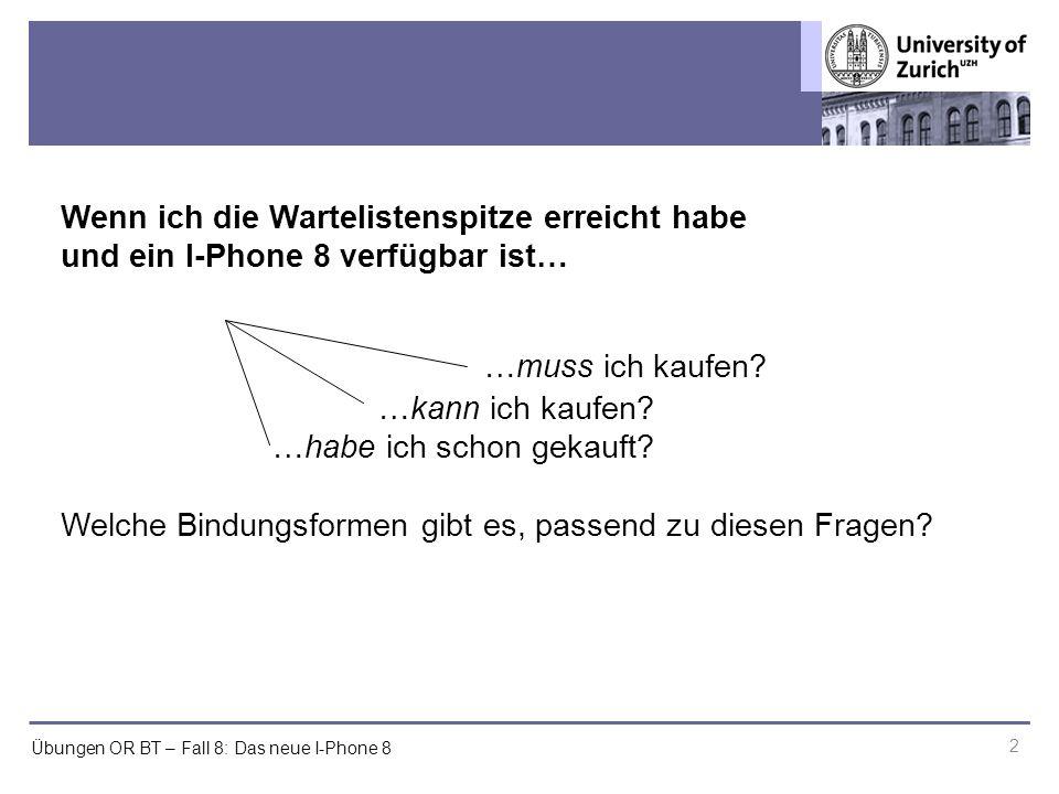 Übungen OR BT – Fall 8: Das neue I-Phone 8 2 Wenn ich die Wartelistenspitze erreicht habe und ein I-Phone 8 verfügbar ist… …muss ich kaufen.
