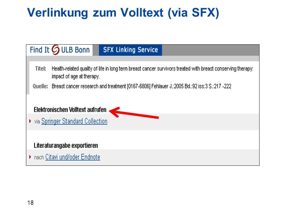 18 Verlinkung zum Volltext (via SFX)