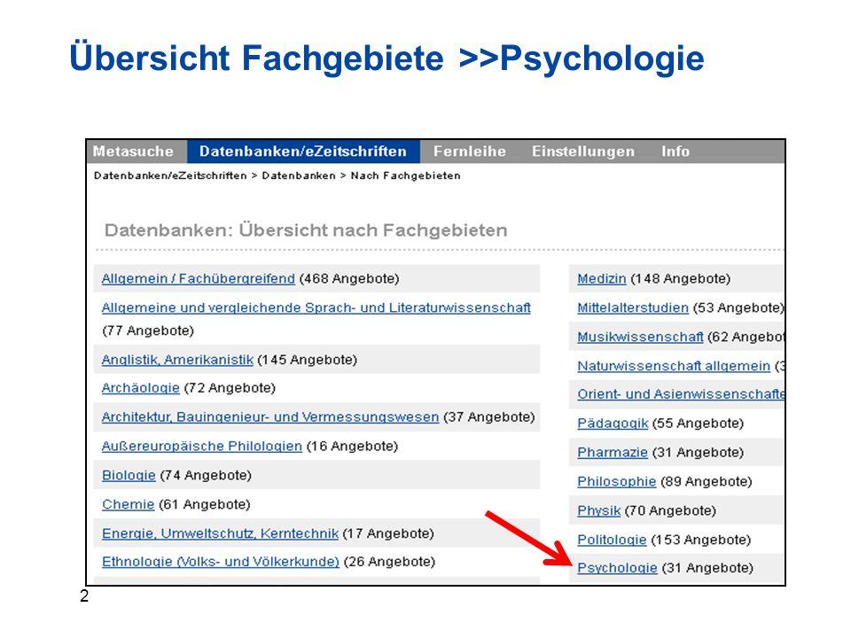 2 Übersicht Fachgebiete >>Psychologie