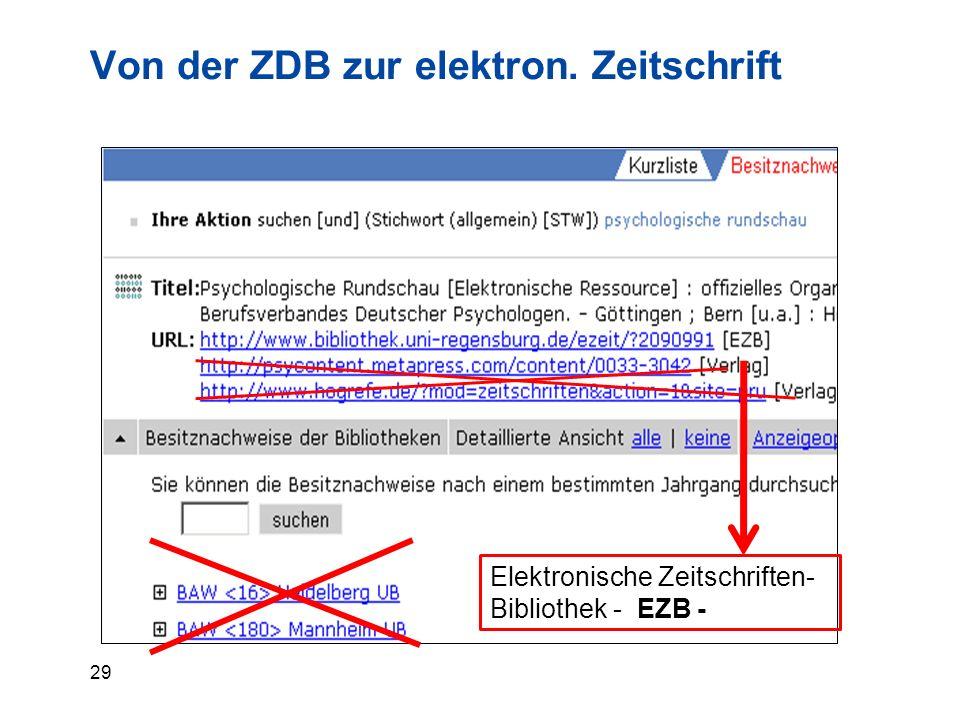 29 Von der ZDB zur elektron. Zeitschrift Elektronische Zeitschriften- Bibliothek - EZB -