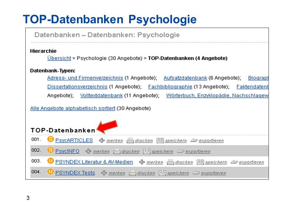 24 Zeitschriftendatenbank ZDB - Suche  Stichwort (allgemein): psychologie =>1542 Treffer  Titel (Stichwort): psychologie => 1439 Treffer  Titelanfang: psychologie => 161 Treffer  Titelanfang: ''psychologie'' => 29 Treffer = Phrasensuche