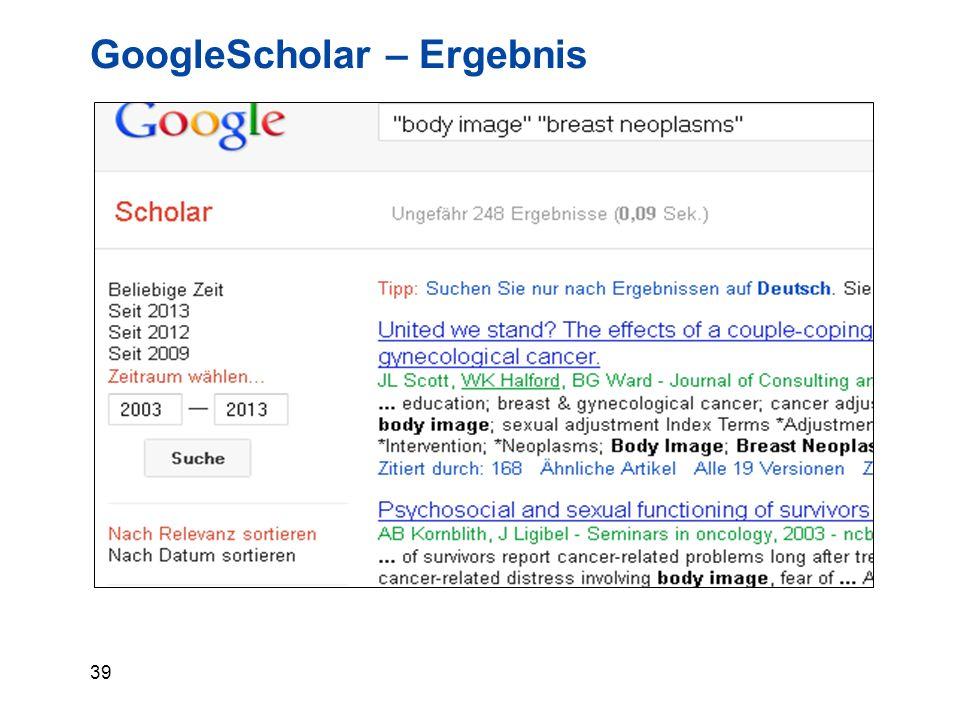 39 GoogleScholar – Ergebnis