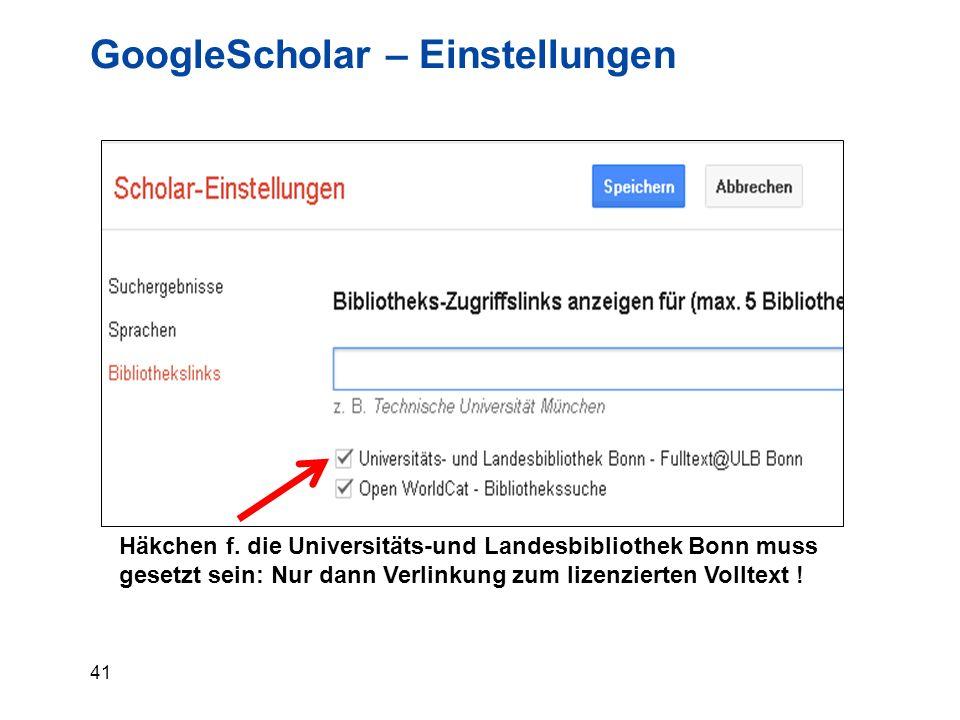 41 GoogleScholar – Einstellungen Häkchen f.