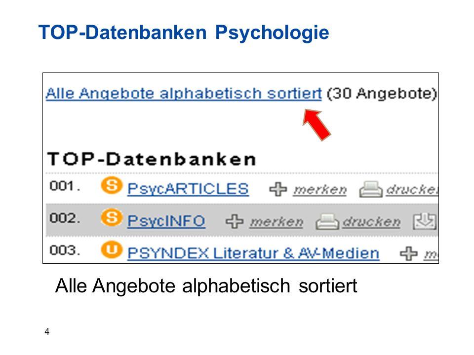5 Datenbanken Psychologie alphabetisch