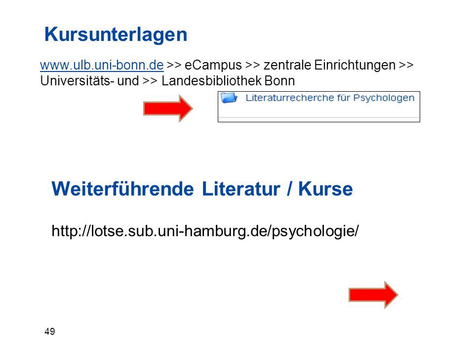 49 Kursunterlagen www.ulb.uni-bonn.dewww.ulb.uni-bonn.de >> eCampus >> zentrale Einrichtungen >> Universitäts- und >> Landesbibliothek Bonn Weiterführende Literatur / Kurse http://lotse.sub.uni-hamburg.de/psychologie/