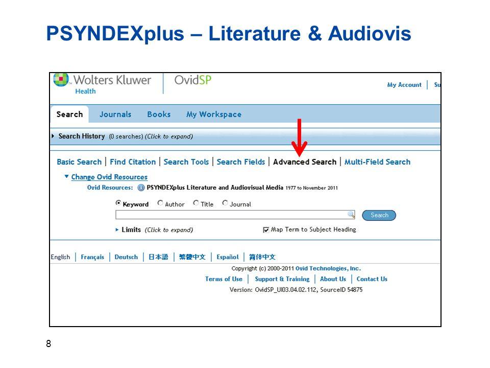 9 PSYNDEXplus – Literature & Audiovis… Suche mit dem Keyword: body image body image