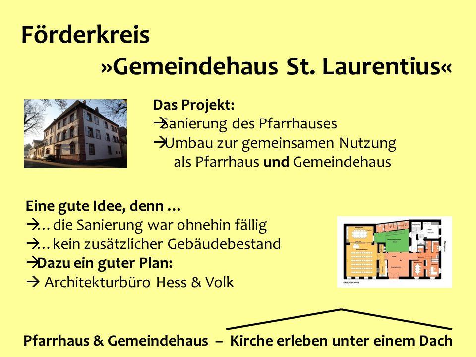 Förderkreis »Gemeindehaus St. Laurentius« Pfarrhaus & Gemeindehaus – Kirche erleben unter einem Dach Das Projekt:  Sanierung des Pfarrhauses  Umbau