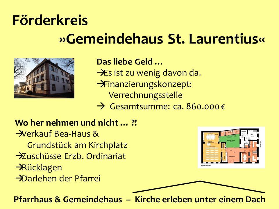 Förderkreis »Gemeindehaus St. Laurentius« Pfarrhaus & Gemeindehaus – Kirche erleben unter einem Dach Wo her nehmen und nicht … ?!  Verkauf Bea-Haus &