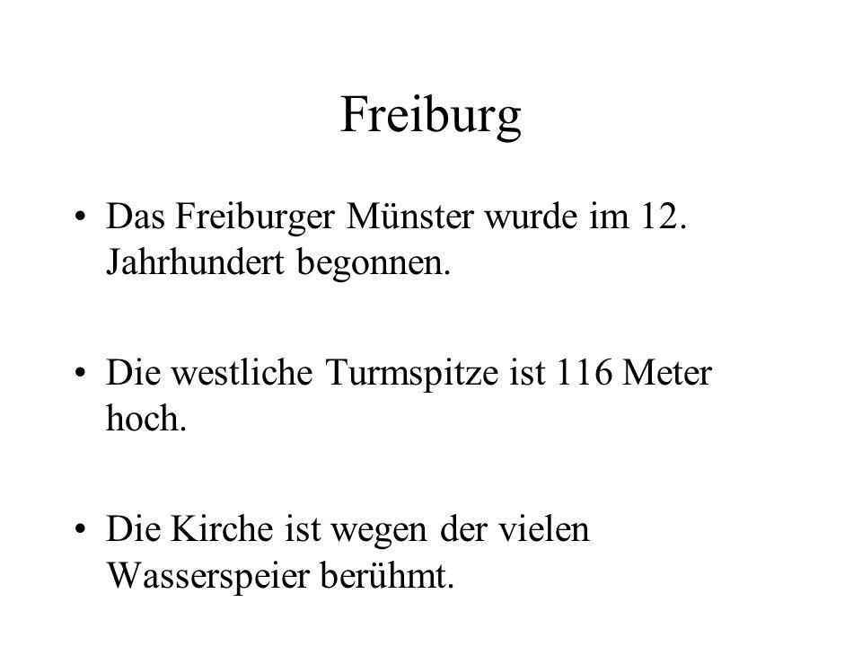Freiburg Das Freiburger Münster wurde im 12. Jahrhundert begonnen. Die westliche Turmspitze ist 116 Meter hoch. Die Kirche ist wegen der vielen Wasser